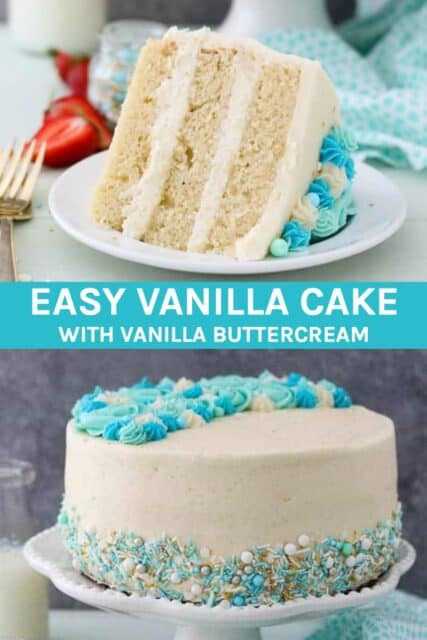 Two pictures of vanilla cake with a text overlayer