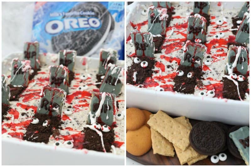 Two side by side images showing Oreo dip decorated for halloween as a graveyard