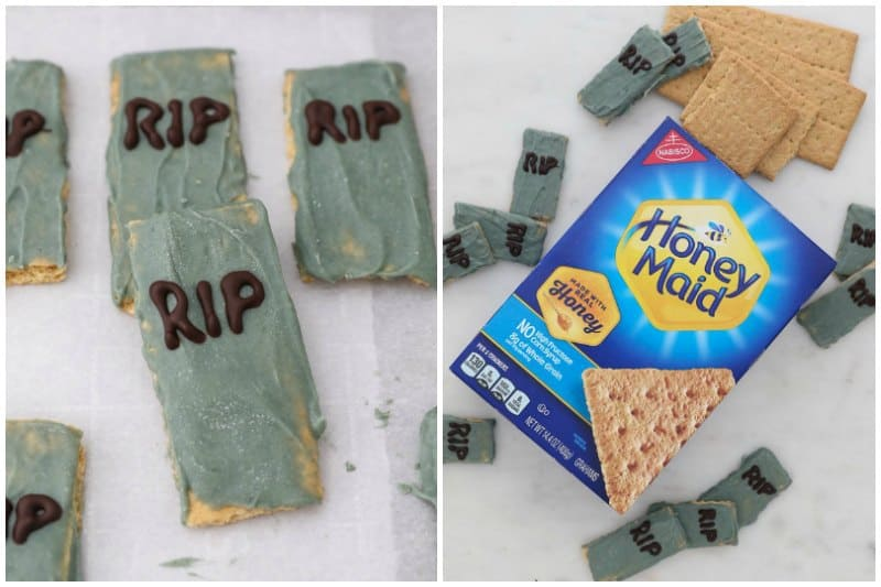 two side by side images showing gravestones made with graham crackers
