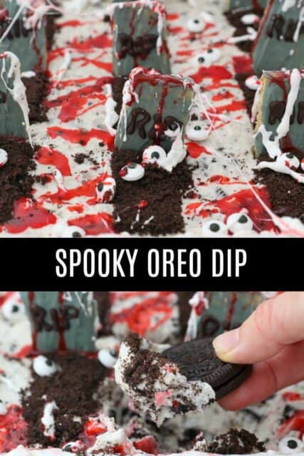 two images of halloween themed Oreo dip with text overlay