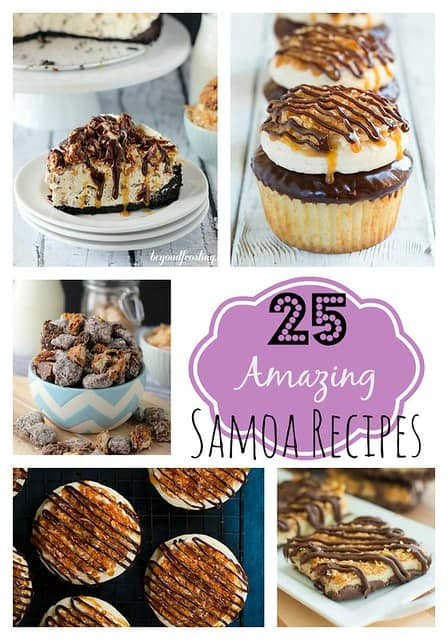 A Collage of Five Different Samoa Desserts