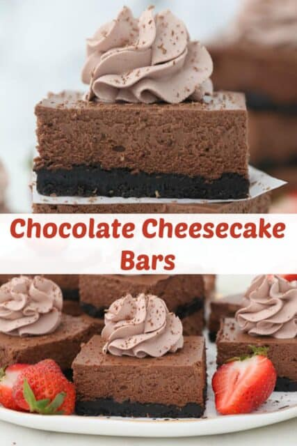 two photos of cheesecake bars with text overlay