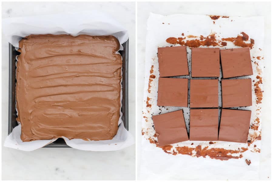 two side by side images of chocolate chesecake bars, in the pan and then sliced