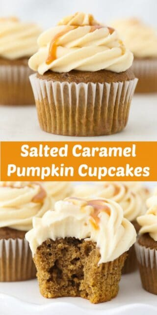Two photos of pumpkin cupcakes with text overlay