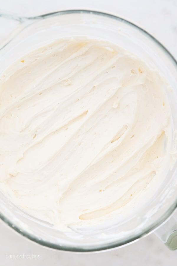 an overhead shot of no-bake cheesecake batter