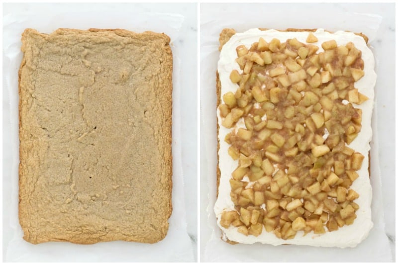 two side by side images showing how to build a cheesecake bar