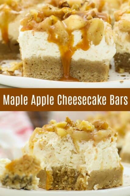 Two images of apple cheesecake bars with text overlay