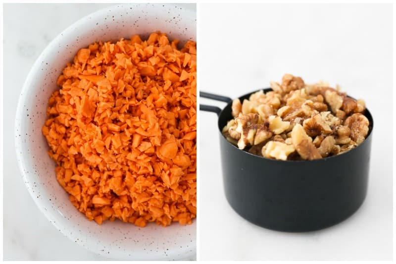 Two side by side images of shredded sweet potatos and chopped walnuts