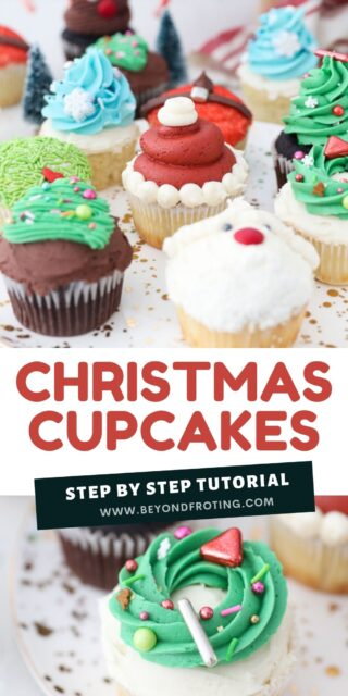 Collage image of Christmas cupcakes with text overlay