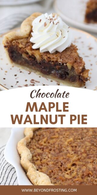 two photos of walnut pie with text overlay