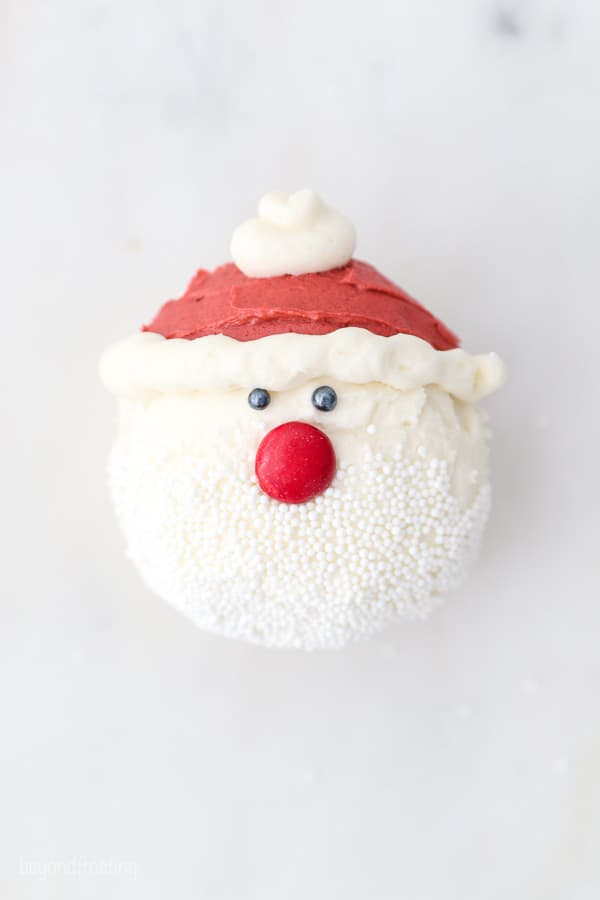 top down view of a cupcake decorated to look like Santa