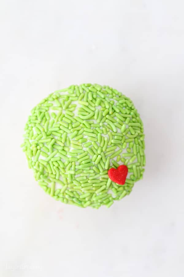 top down view of a cupcake decorated for Mr. Grinch