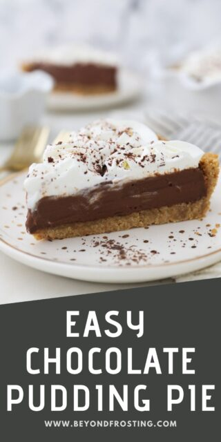 an images of chocolate pie with text overlay