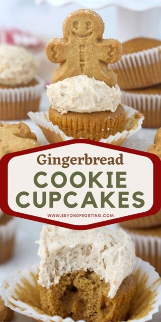 two images of gingerbread cupcakes with text overlay