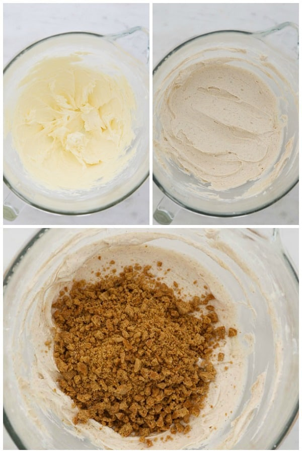 three images collaged to show how to make frosting