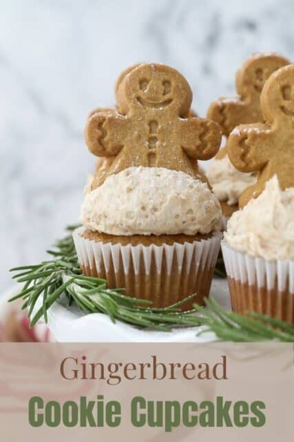 a photo of gingerbread cupcakes on a white cake stand with a text overlay