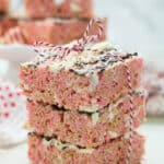 three rice krispie treats stacked and tied with a ribbon