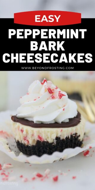 an image of mini peppermint cheesecakes with text overlay