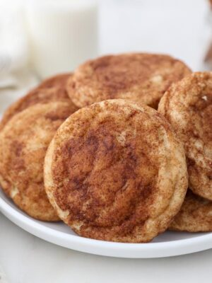 close up shot of a snickerdoodle cookie on a white plare
