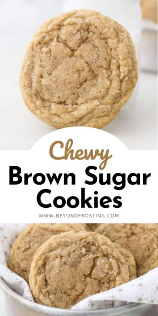two images of brown sugar cookies with a text overlay