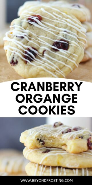 two images of a cranberry orange cookie with a text overlay