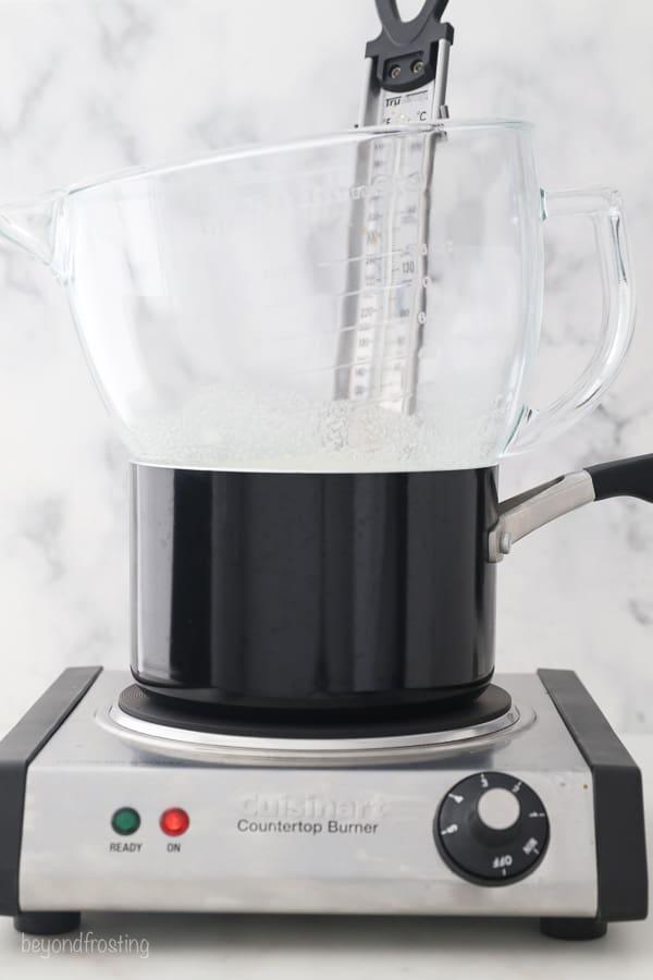 a portable setup for making Swiss meringue buttercream