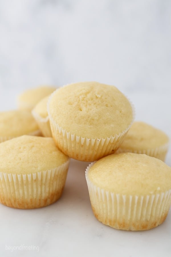 a stack of baked cupcakes