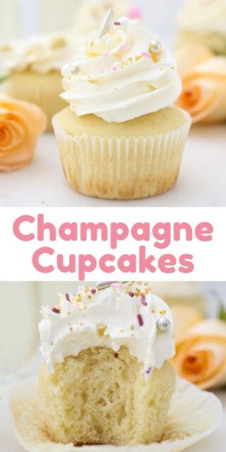 two pictures of champagne cupcakes with text overlay
