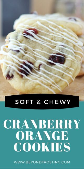 An image of a cranberry orange cookie with a text overlay