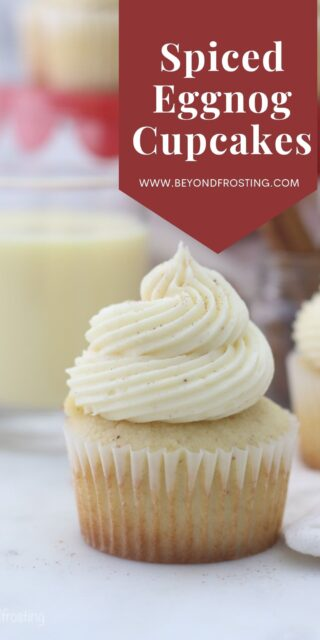 an image of eggnog cupcakes with text overlay
