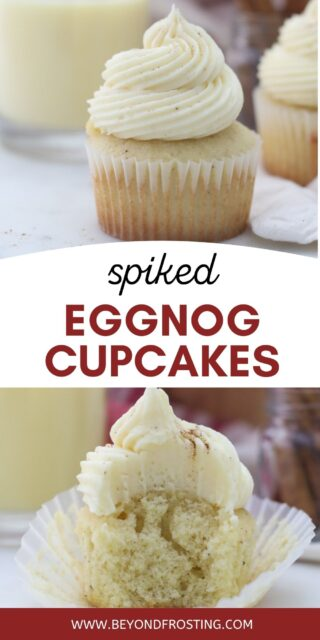 two images of eggnog cupcakes with text overlay