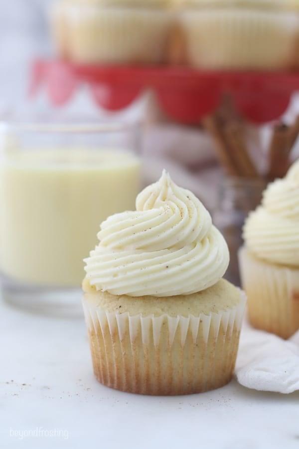 a closeup of an eggnog cupcake