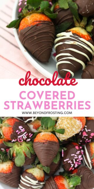 Two images of chocolate covered strawberries with a text overlay