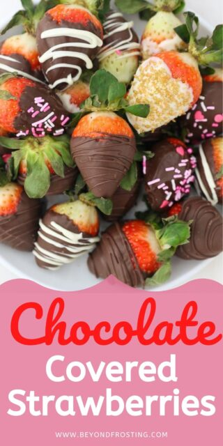 A photo of chocolate covered strawberries with a text overlay