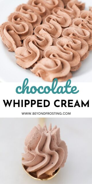two photos of chocolate whipped cream with a text overlay
