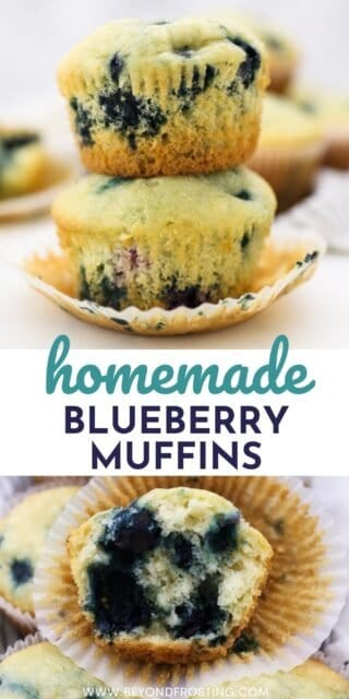 two photos of blueberry muffins with a text overlay