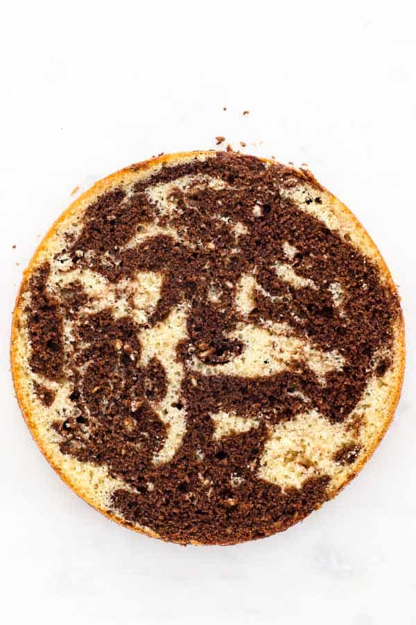 a top view of a marble cake that has been leveled showing the inside of the cake