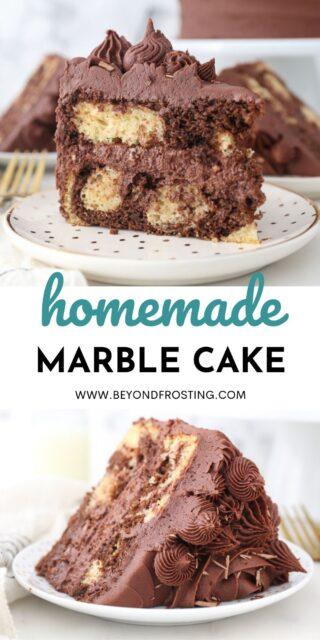 two collage images of marble cake with text overlay