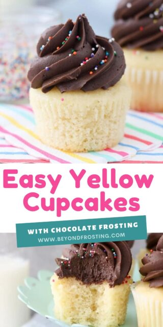 two images of yellow cupcakes with text overlay