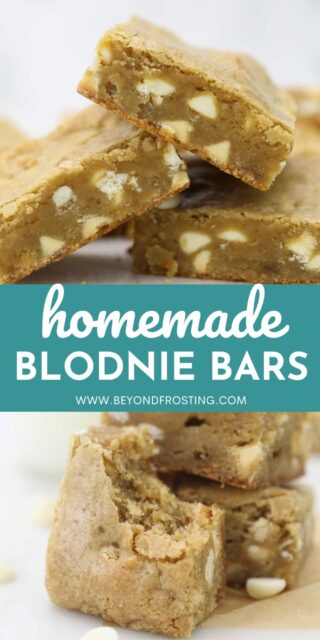 Two images of blondie bars collaged with a text overlay