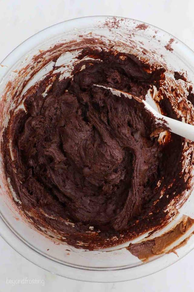 brownie batter in a glass bowl