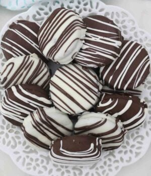 A Decorative Plate Full of Chocolate Covered Oreos