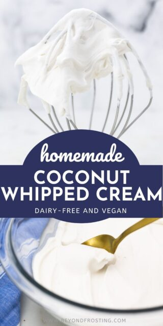 two collage images of coconut whipped cream with text overlay