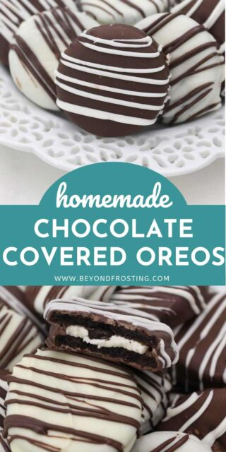 two images of chocolate covered Oreos with a text overlay