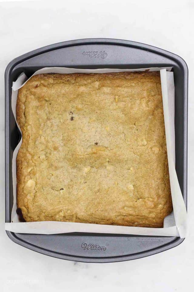 An overhead shot of a pan of baked blondie bars
