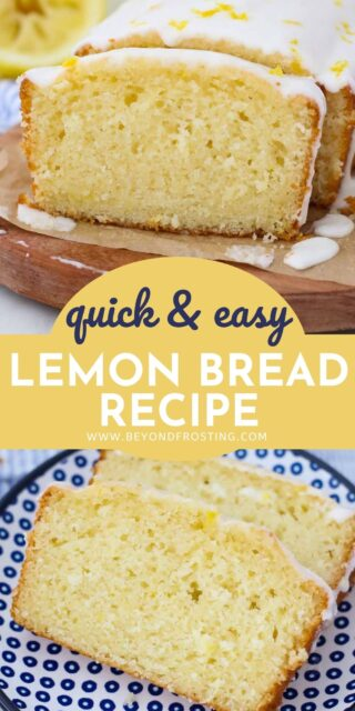 two images of lemon bread collaged with text