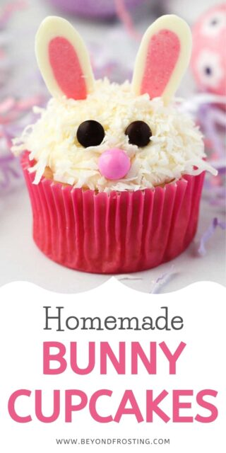 A collage image with decorated Easter bunny cupcakes and a text overlay