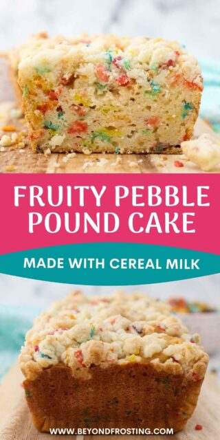 two images of Fruity Pebble cake collaged with text