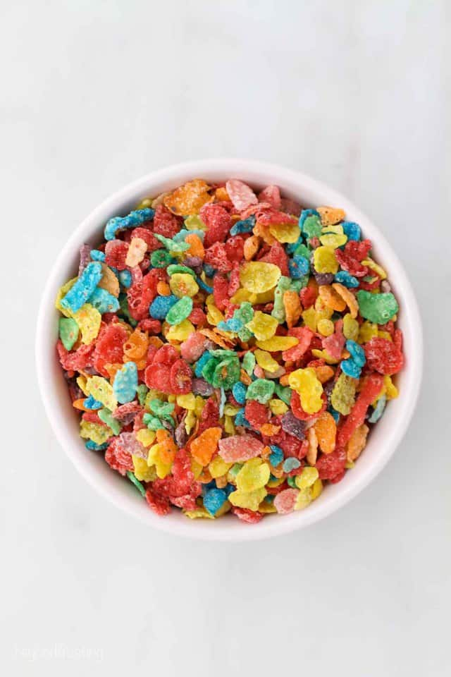 Fruity Pebbles cereal in a small bowl
