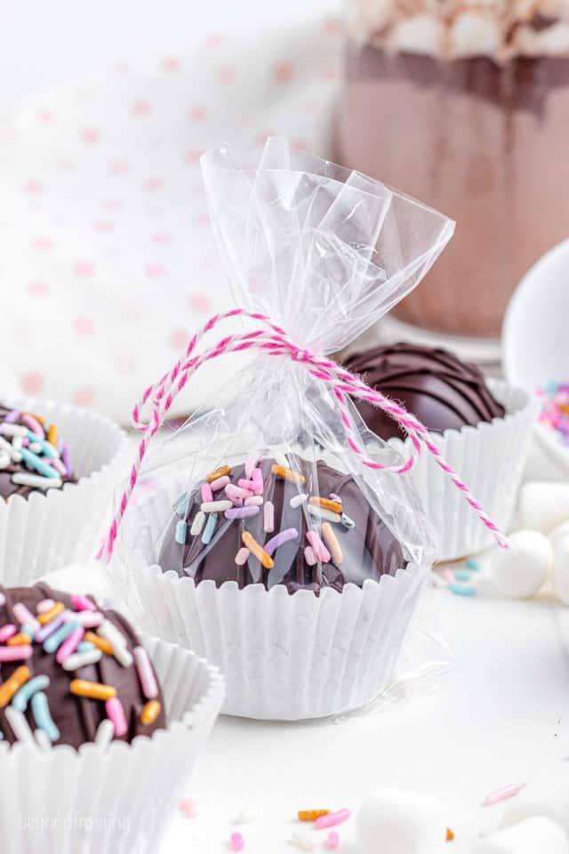 a cellophane bag with a hot chocolate bomb tied with pink bakers twine